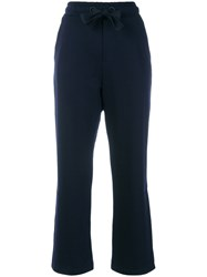 Moncler Flared Cropped Track Pants Blue