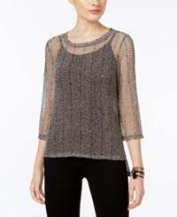 Inc International Concepts Sequined Open Knit Illusion Top Only At Macy's Deep Black