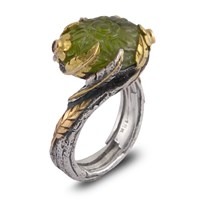 Emma Chapman Jewels Peacock Peridot Diamond And Blue Sapphire Ring Green