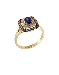 Effy Royale Bleu 14Kt. Yellow Gold Sapphire Ring With Brown And White Diamonds Sapphire Gold