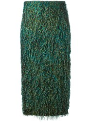 Max Mara Feathered Texture Pencil Skirt Women Cotton Polyester 42 Green