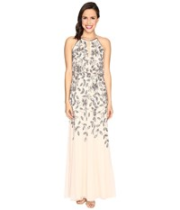 Adrianna Papell Beaded Gown With Plunging Neckline Taupe Pink Women's Dress Beige