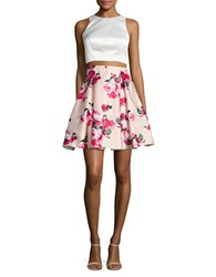 Xscape Evenings Cropped Top And Floral Skirt Set Ivory Pink