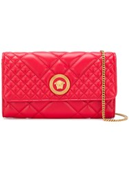 Versace Quilted Chain Wallet Bag Red