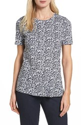 Boss Women's Enic Floral Cotton Top Navy Fantasy
