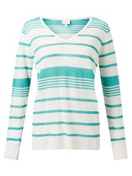 East Stripe V Neck Jumper Lagoon