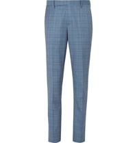 Paul Smith Blue Soho Slim Fit Prince Of Wales Checked Wool Suit Trousers Blue