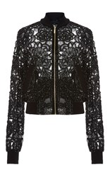 Elie Saab Flower Embroidered Bomber Jacket Black