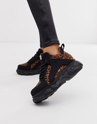 Buffalo Colby Exclusive Low Platform Chunky Trainers In Leopard Multi