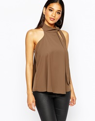 River Island Tie Halter Neck Top Khaki