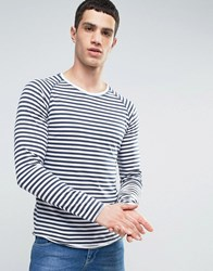 Only And Sons Long Sleeve T Shirt With Raglan Sleeves In Stripe Dress Blue