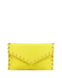 Ash Frankie Ring Lined Leather Clutch Bag Acid Yellow