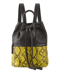 French Connection Mara Snake Embossed Drawstring Backpack Black Yellow