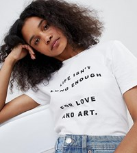 Adolescent Clothing T Shirt With Love And Art Slogan White