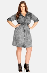 City Chic Acid Wash Denim Shirtdress Plus Size Dark Denim