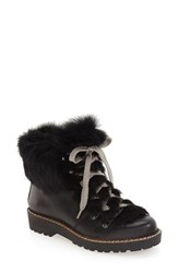 Arturo Chiang Women's 'Philippa' Genuine Rabbit Fur Hiking Boot Black Leather