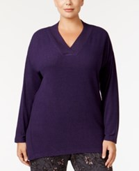 Alfani Plus Size V Neck Pajama Top Only At Macy's Plum Purple