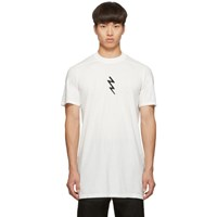 Rick Owens White Lightning Bolt Level T Shirt