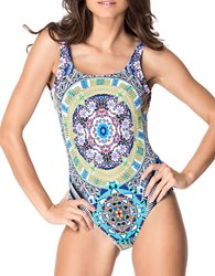Red Carter Tribal Print One Piece Royal Blue