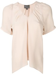 Roberta Furlanetto Pleated Bow Top Nude And Neutrals