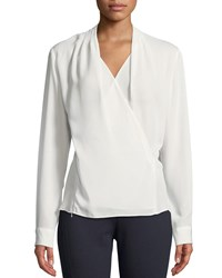 T Tahari Wrapped Front Chiffon Blouse Pearl