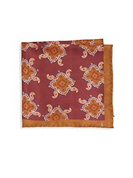 Yves Saint Laurent Double Paisley Silk Pocket Square Red