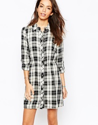 Only Checked Shirt Dress Blackandwhite