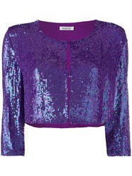 P.A.R.O.S.H. Sequin Fitted Top Women Viscose Pvc M Pink Purple