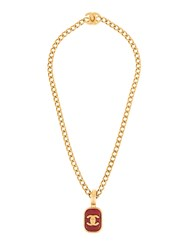 Chanel Vintage Stones Gold Chain Pendant Necklace