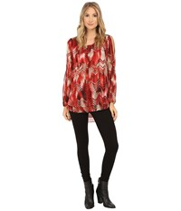 Christin Michaels Elizabeth Blouse Rust Taupe Women's Blouse Red