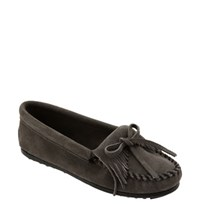 Women's Minnetonka 'Kilty' Suede Moccasin Grey