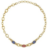 Eclectica Vintage 1970S Grosse Gold Plated Glass Stone Chain Necklace Rose Pink Cornflower Blue
