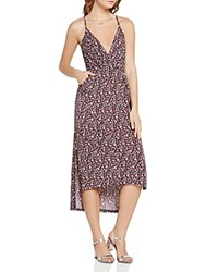 Bcbgeneration Floral Print High Low Dress Deep Red Combo