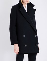 Stella Mccartney Double Breasted Wool Blend Coat Black