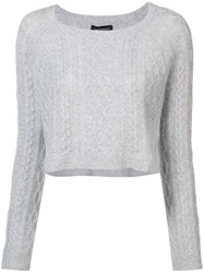 Theperfext Cropped Cable Knit Sweater Grey