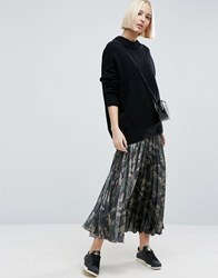 Asos Pleated Skirt In Satin With Camo Print Multi