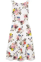 Erdem Maia Floral Print Cotton Poplin Dress White