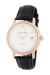 Brooks Brothers Men's Core Collection Automatic Leather Strap Watch Black
