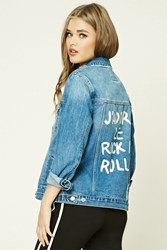 Forever 21 Jadore Rock N Roll Denim Jacket