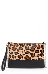 Phase 3 Leopard Print Flap Clutch Brown