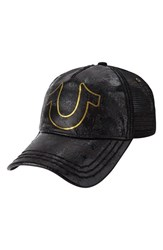Men's True Religion Brand Jeans 'Horseshoe' Leather Trim Trucker Cap Black
