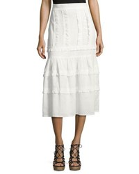 Vilshenko Ruffled Cotton Midi Skirt White