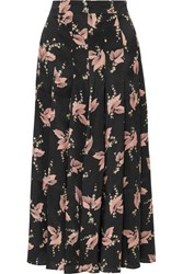 Co Pleated Floral Print Silk Satin Midi Skirt Black