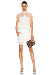 Nina Ricci Lace Turtleneck Dress In White