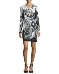Roberto Cavalli Long Sleeve Kimono Floral Dress Black White Women's