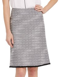 Ellen Tracy Printed A Line Skirt Black