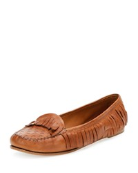 Tomas Maier Leather Fringe Moccasin Cuir