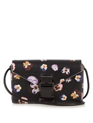Christopher Kane Devine Ditsy Pansy Large Leather Cross Body Bag Black Multi