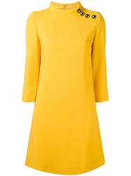 Goat Buttoned High Neck Dress Women Wool Acetate Polyester 8 Yellow Orange