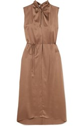 Vince Knotted Silk Satin Dress Brass